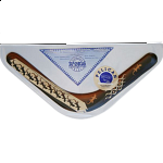 Pelican - decorated wood boomerang - Right Handed