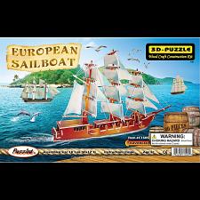 European Sailing Boat - Illuminated 3D Wooden Puzzle -