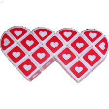Valentine's Siamese Heart 3x3x1 White Cube -