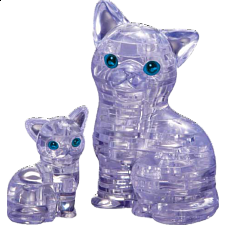 3D Crystal Puzzle - Cat & Kitten (Clear) -