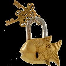 Brass Small Fish Padlock - Regular Lock -