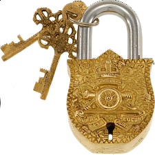 Brass Puzzle Trick Padlock - Coat of Arms -