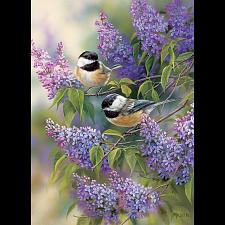 Chickadees and Lilacs -