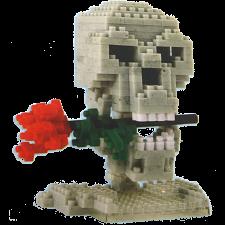 3D Pixel Puzzle - Skull & Rose -