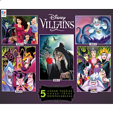 Disney Villains: 5 In 1 Jigsaw Puzzle Collection #2 -