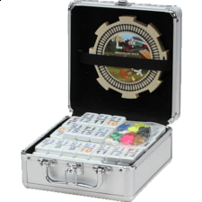 Double 15 Numeral Mexican Train Dominoes with Aluminum Case -