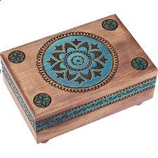 Brown Puzzle Box with Geometric Designs -
