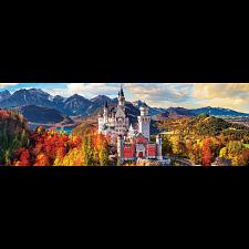 Neuschwanstein Castle in Autumn - Germany: Panoramic Puzzle -