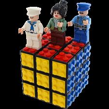 3x3 Building Block Cube & 12 Occupation Building Block Figures -