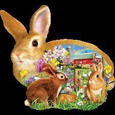 Springtime Bunnies - Shaped Jigsaw Puzzle -