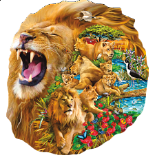 Lion Family - Shaped Jigsaw Puzzle -