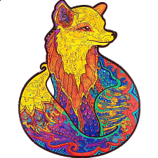 Mysterious Fox - Animal Shaped Wooden Jigsaw Puzzle -