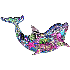 Mysterious Dolphin - Animal Shaped Wooden Jigsaw Puzzle -