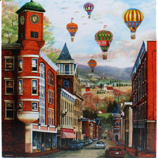 The Clock Tower with Balloons: Mary Vessey - Large Piece -