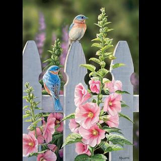 Bluebirds and Hollyhocks
