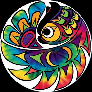 Tie-dye Owl - Large Piece Round Puzzle