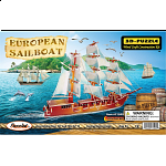 European Sailing Boat - Illuminated 3D Wooden Puzzle