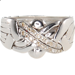 6 Band - Sterling Silver Puzzle Ring - Diamond