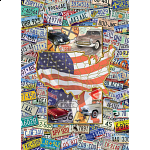 Collector Suitcase Jigsaw - Route USA License Plates