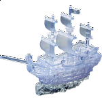 3D Crystal Puzzle Deluxe - Pirate Ship (Clear)