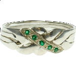 4 Band - Sterling Silver Puzzle Ring - Emerald