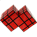 Mirror Double Cube - Black Body with Red Labels
