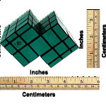 Mirror Double Cube - Black Body with Green Labels