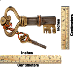 Key Shaped Iron & Brass Puzzle Lock