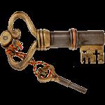 Key Shaped Iron & Brass Puzzle Lock