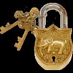 Brass Puzzle Trick Padlock - Elephant
