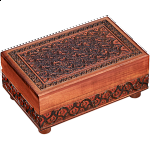 Brown Carved Puzzle Box