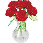 3D Crystal Puzzle - Roses in Vase (Red)