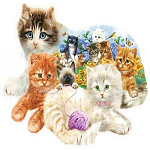 A Litter of Kittens - Shaped Jigsaw Puzzle