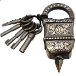 5 Key Iron Puzzle Lock - With Silver Design