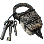 3 Key Puzzle Lock - With Silver Design