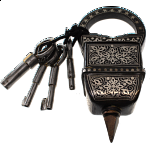 4 Key Puzzle Lock - With Silver Design