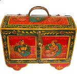 Half Round Jewelry Puzzle Box - Colored Design #1