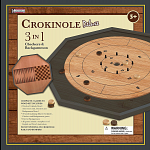 Crokinole 3 in 1 Deluxe Game Board Set - Black