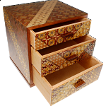 6 Sun 3 Drawers Jewelry Box - Yosegi / Zaiku