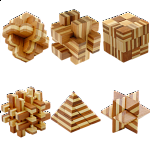 Group Special - a set of 6 Bamboo Wood puzzles