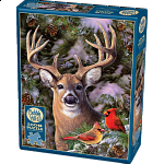 One Deer Two Cardinals - Large Piece