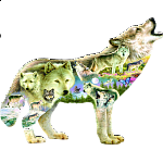 Meadow Wolf - Shaped Jigsaw Puzzle