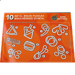 10 Metal Brain Puzzles - Orange