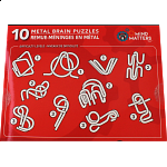 10 Metal Brain Puzzles - Red