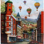 The Clock Tower with Balloons: Mary Vessey - Large Piece