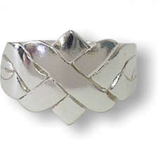 4 Band - Sterling Silver Puzzle Ring - X Design - Puzzle Rings