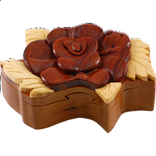 Wooden Puzzle Box - Rose - Wooden Puzzle Boxes