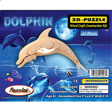 Bottle Nose Dolphin - Small - 3D Wooden Puzzle - 1-100 Pieces