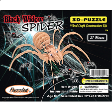 Black Widow Spider - 3D Wooden Puzzle - 1-100 Pieces