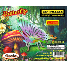Butterfly - Painted - 3D Wooden Puzzle - 1-100 Pieces